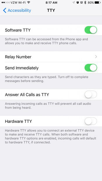 how to enable or disable the TTY iPhone features