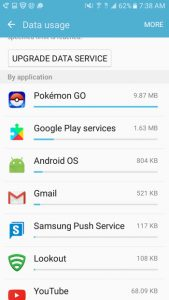 view mobile data usage by app on the galaxy on5