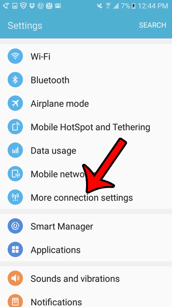 select more connection settings