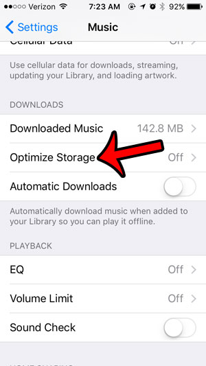 optimize storage in the iphone music app