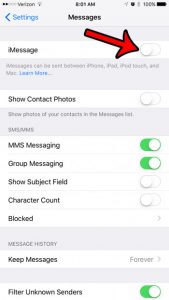 how to turn off imessage on an iphoen 7 and force text messages