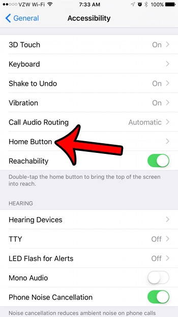 select the Home button option