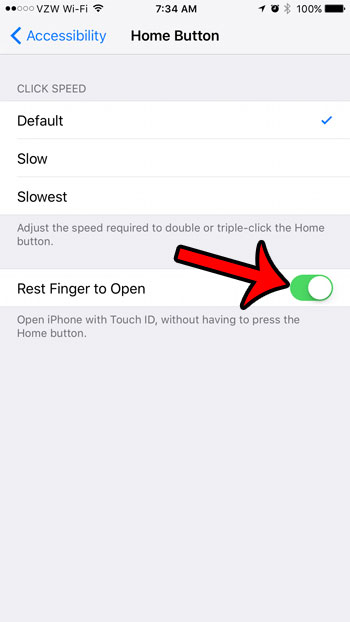enable the rest finger to open option on an iphone 7