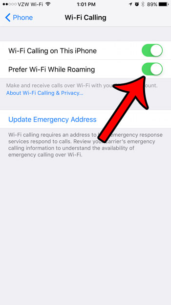 enable prefer wi-fi while roaming on the iphone 7