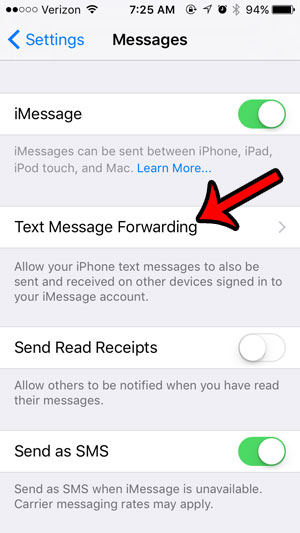 open the text message forwarding menu