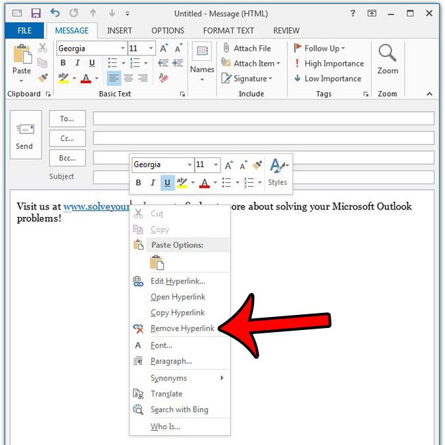 how to remove a hyperlink in outlook 2013
