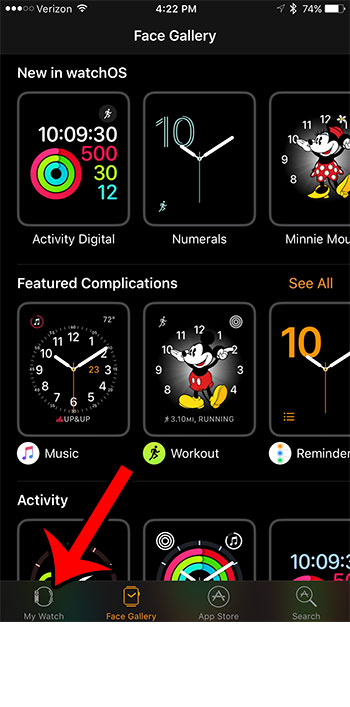 my watch tab in the iphone watch app