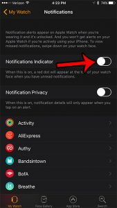 how to disable the red notification dot on the apple watch