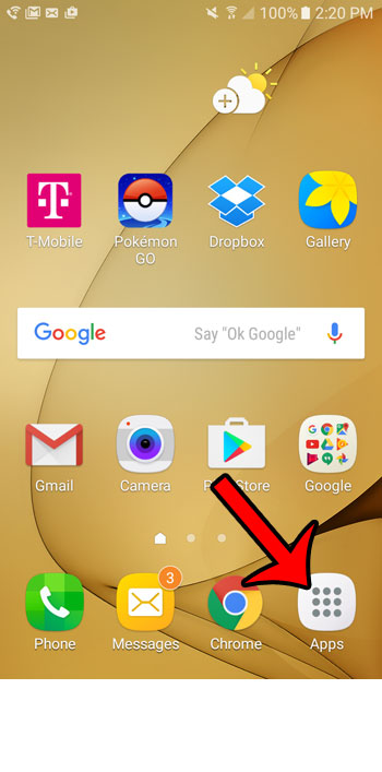 tap the apps icon