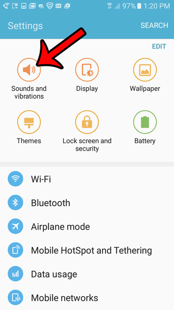select the sounds and vibrations option