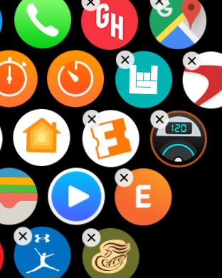 tap and hold an apple watch app icon