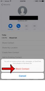how to block a call in ios 10