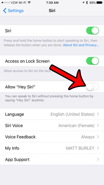 how to disable hey siri on an iphone 7