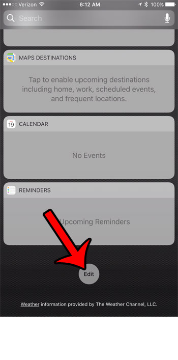 tap the edit button at the bottom of the widget page