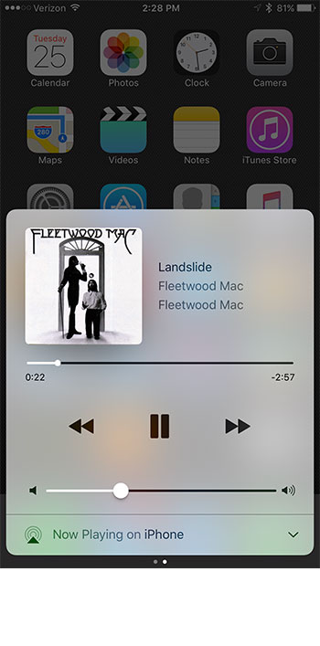 how to use the control center music controls on the iphone 7