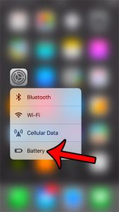 faster way to open the battery menu on iphone 7