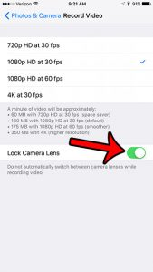 how to lock the camera lens on the iphone 7
