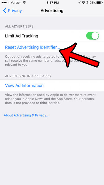 reset the advertising identifier on an iphone 7