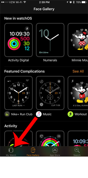 select the my watch tab
