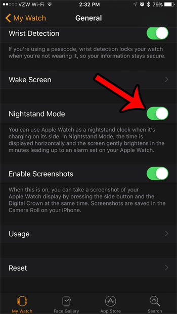 activate nightstand mode from the iphone watch app