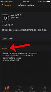 how to install a software update for the apple watch