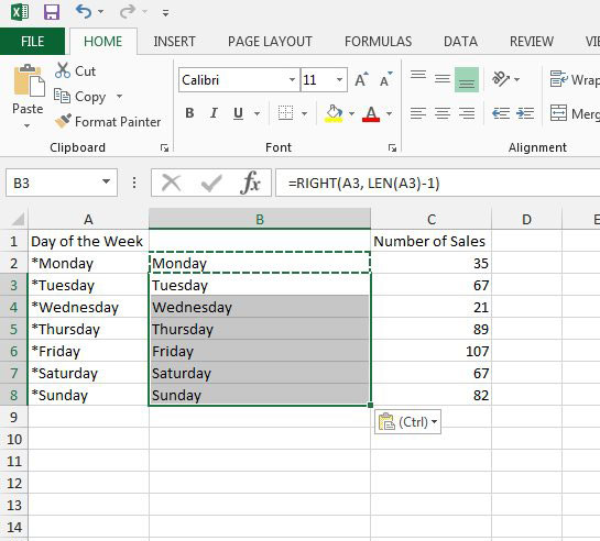 how to remove the first character from a cell in excel 2013
