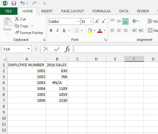 open a spreadsheet with a vlookup error