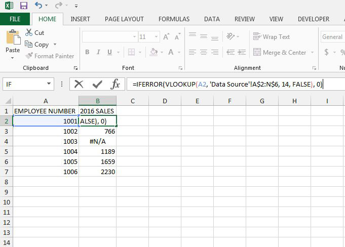 how to display a zero instead of #n/a in excel 2013 vlookup formula