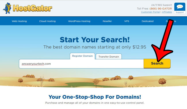 search for your domain name
