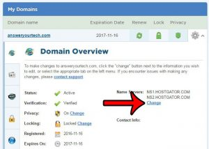 how to change the name servers for a hostgator domain