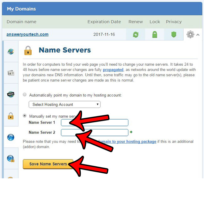 enter the new name server addresses