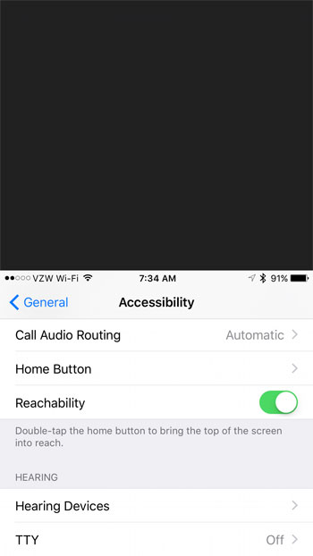 example of reachability in use on iphone 7