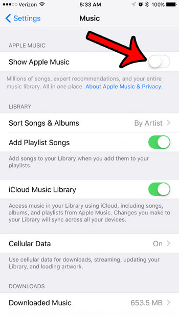 how to hide apple music on the iphone 7