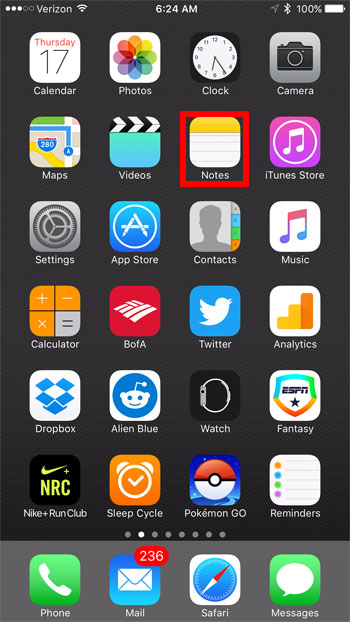 tap and hold on the Notes app to open its 3D Touch menu