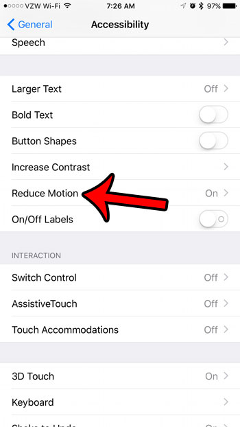 select the reduce motion option