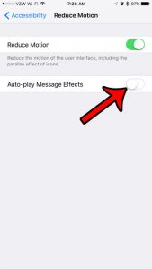 how to stop auto-playing text message effects on an iphone 7