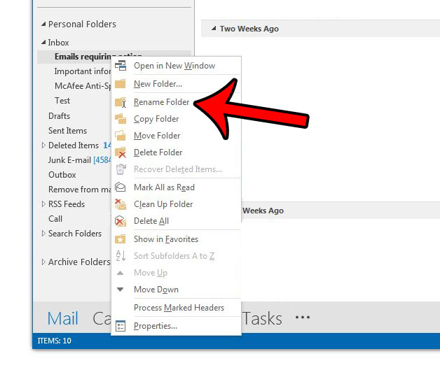how to rename a folder in outlook 2013