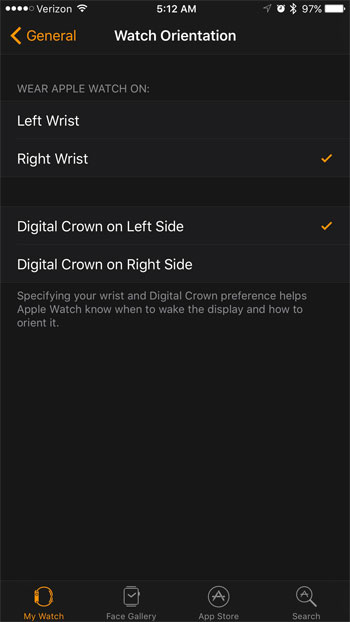 how to change the wrist setting for the apple watch from an iphone