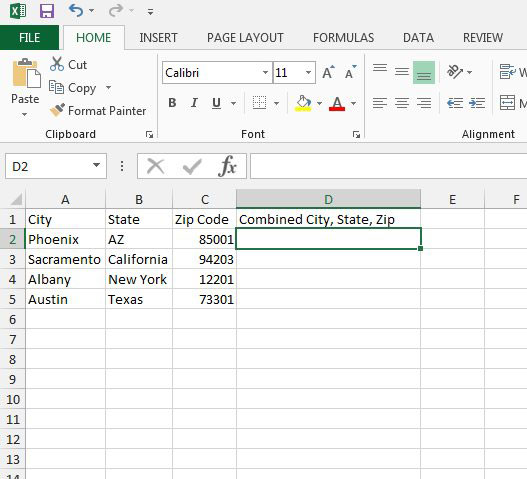 select the cell for the output data