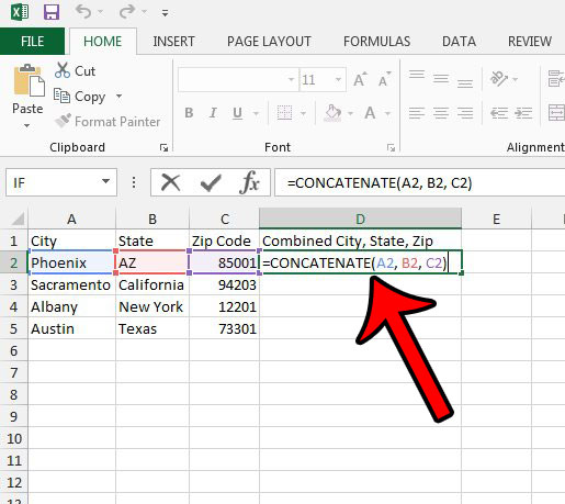 enter the formula to merge three cells into one in Excel