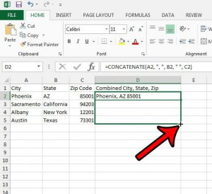 how to combine three columns into one in Excel 2013