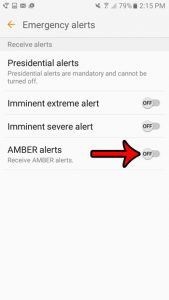 how to turn off amber alerts on the samsung galaxy on5