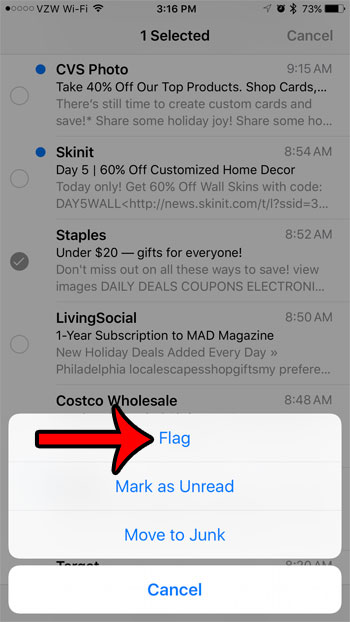 how to flag an email message on an iphone 7