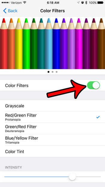 how to enable Color Filters on an iPhone 7