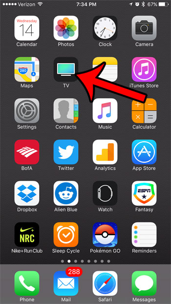 tv app icon on the iphone 7