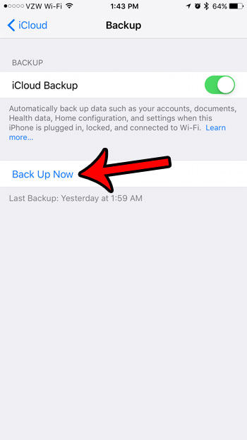 how to do a manual iCloud backup on an iPhone