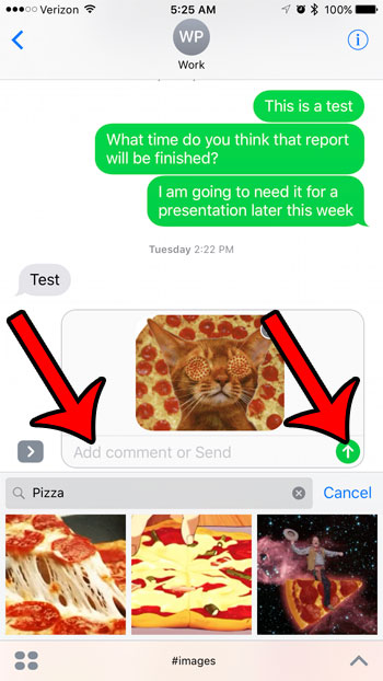 add text to the message, then tap the send arrow
