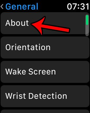 open the watch about screen