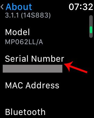 find apple watch by serial number