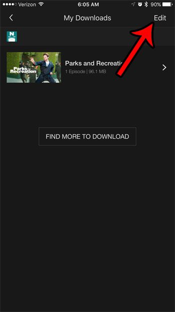 tap the edit button on the netflix downloads screen